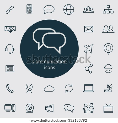 communication Icons Vector set. communication Icons Symbol set. communication Icons Picture set. communication Icon Image set. communication Icons Shape set communication Icons set outline, thin, flat - stock vector