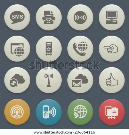 Communication icons with color buttons on blue background. - stock vector