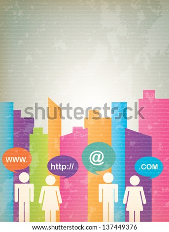 Communication icons with people and city vector illustration - stock vector