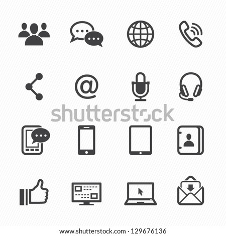 Communication Icons with White Background - stock vector