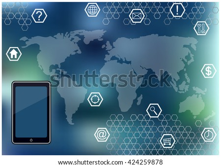Communication Icons World Map Mobile Phone Modern Stock Vector
