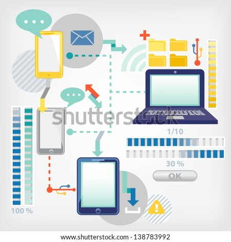 communication in computer networks - stock vector