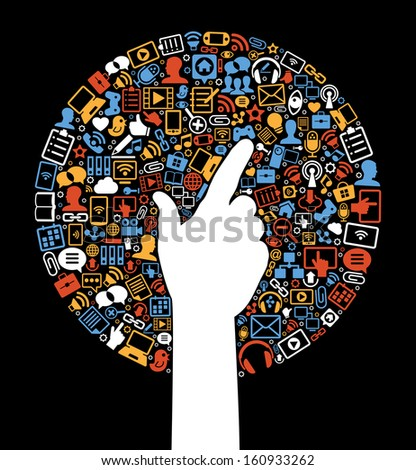 Communication in the global computer networks. Silhouette of a man's hands surrounded interface icons. Social media background in the form of a tree - stock vector
