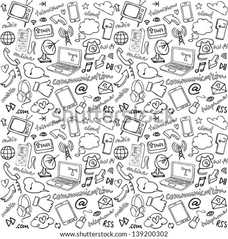 Communication & internet seamless background - stock vector
