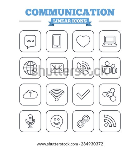 Communication linear icons set. Smartphone, laptop and speech bubble symbols. Wi-fi and Rss. Online love dating, mail and globe thin outline signs. Flat square vector