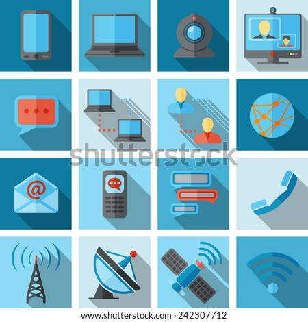 Communication media and social network broadcasting icons flat long shadow set isolated vector illustration. - stock vector