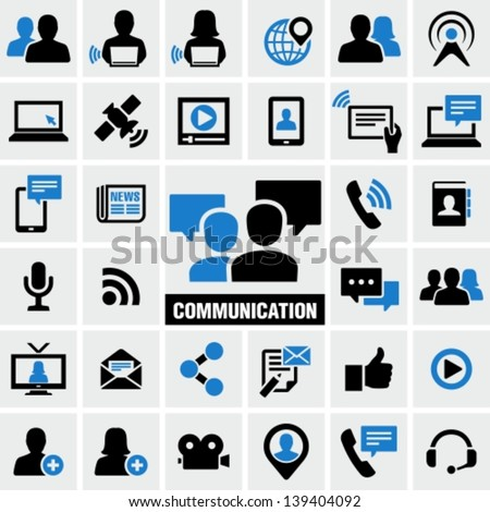 Communication & Media Icons Set - stock vector
