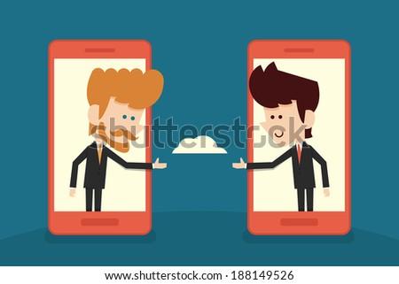 communication of businessman flat cartoon. vector - stock vector