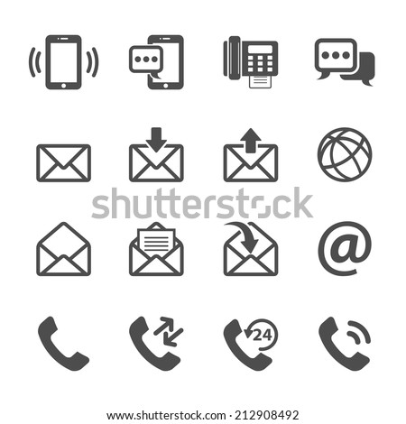 communication of phone and email icon set, vector eps10. - stock vector
