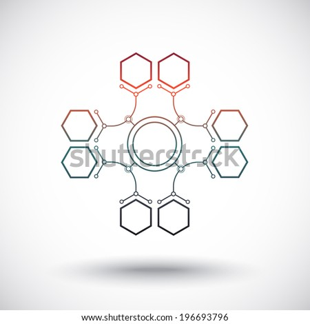 Communication of polygons using arcs. gradient. Vector Graphics - stock vector