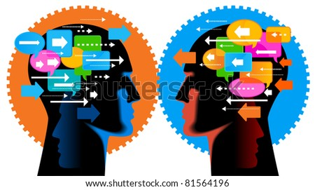 Communication-person.people talk, think - stock vector