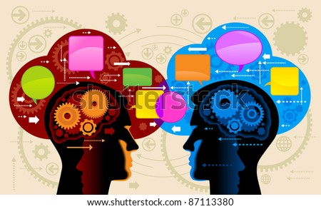 Communication person.people talk, think - stock vector