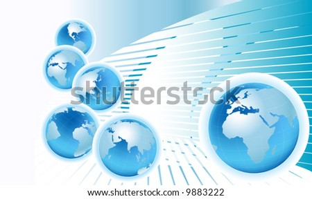 communication; planet earth from six views with light blue abstract background