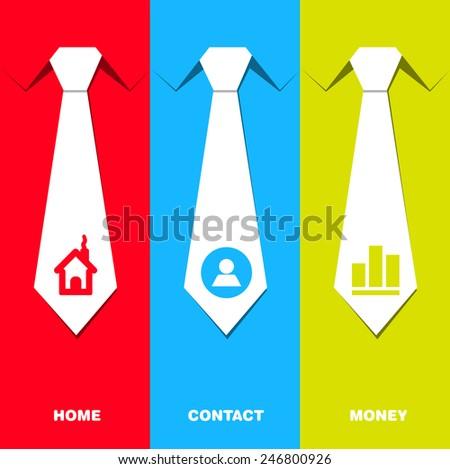 Communication set with neck tie - management idea - stock vector