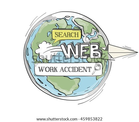 COMMUNICATION SKETCH WORK ACCIDENT TECHNOLOGY SEARCHING CONCEPT - stock vector
