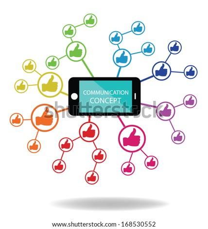 Communication. Social media. Hand signs vector. Good concept.  - stock vector