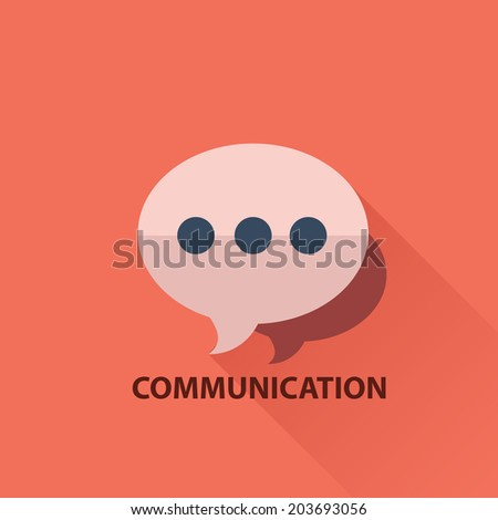 Communication speech bubble flat web icon.Flat design style modern vector illustration. Isolated on stylish color background, flat long shadow design, flat design elements, social technologies - stock vector