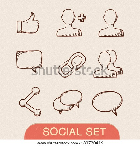 Communication symbols set. Sketch icons pictograms collection. Eps 10 vector illustration. - stock vector