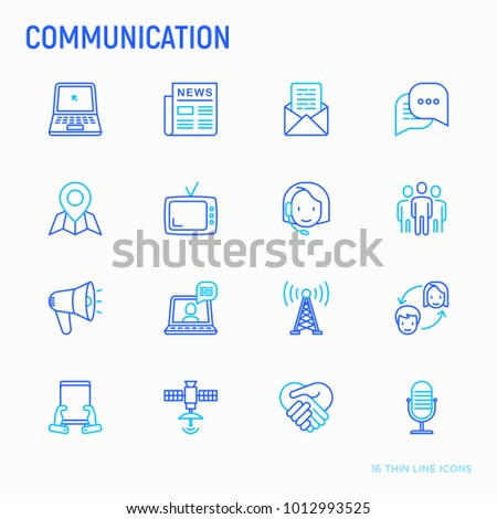 Communication thin line icons set email stock vector hd royalty communication thin line icons set e mail newspaper letter chat altavistaventures Gallery
