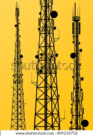 Communication transmission tower radio signal phone antenna yellow vector background - stock vector