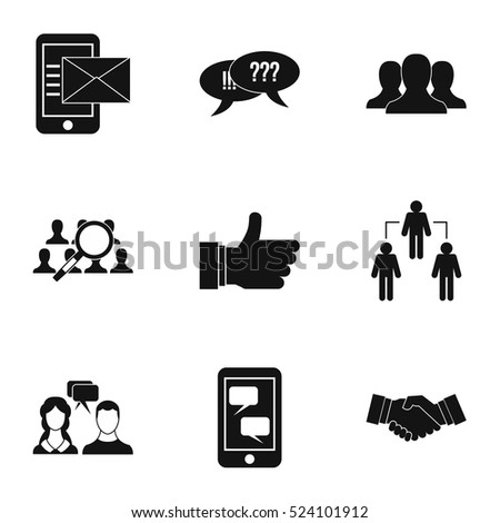 Communication via internet icons set. Simple illustration of 9 communication via internet vector icons for web