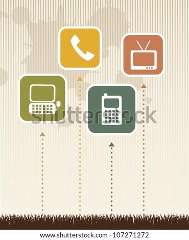 communication vintage over grass over beige background. vector - stock vector