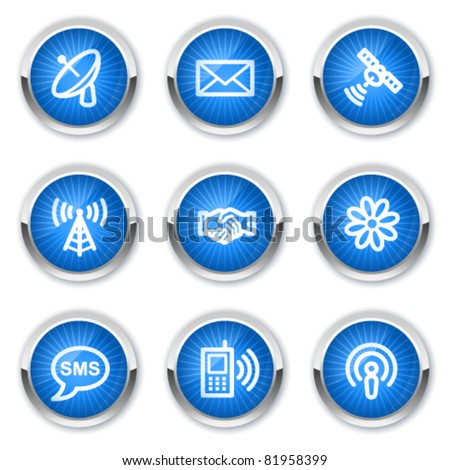 Communication web icons, blue buttons - stock vector