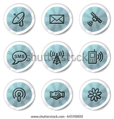 Communication web icons, blue shine stickers series - stock vector