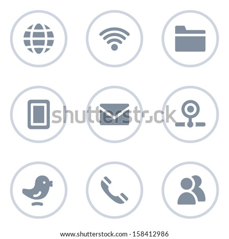 Communication web icons, circle line series - stock vector