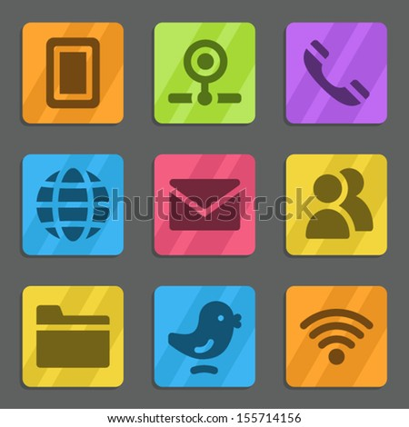 Communication web icons color flat series - stock vector