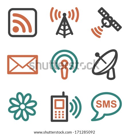 Communication web icons, contour series - stock vector