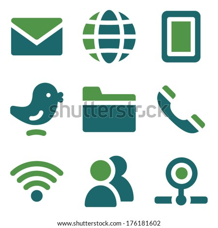 Communication web icons, green mix set - stock vector