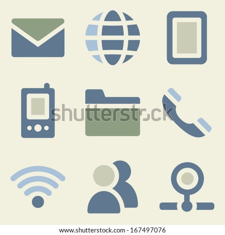 Communication web icons money color set - stock vector