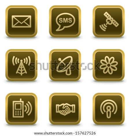 Communication web icons, square brown buttons