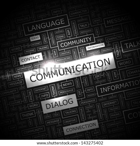 COMMUNICATION. Word cloud concept illustration.