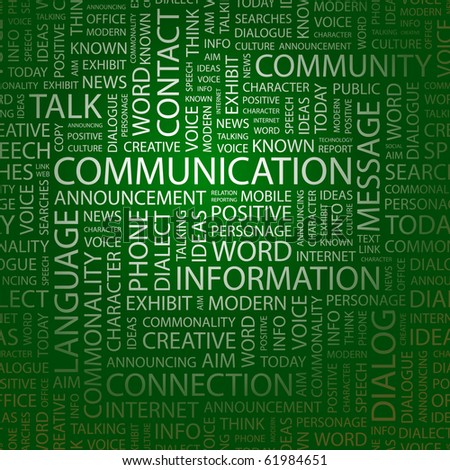 COMMUNICATION. Word collage. Illustration with different association terms. - stock vector