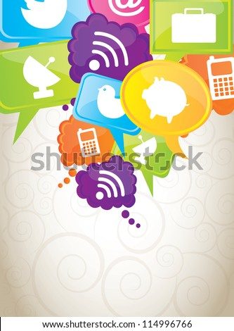 Communications and cloud computing icons over white background - stock vector