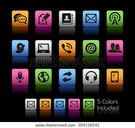 Communications Icons // ColorBox Series ---- The Vector file includes 5 color versions for each icon in different layers -- - stock vector