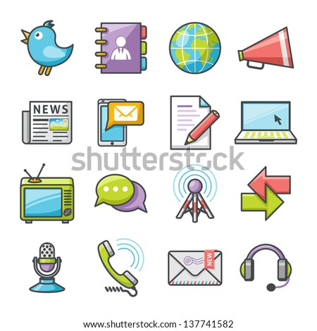 Communications icons set. Happy series