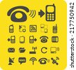 communications icons, signs, illustrations, vectors, symbols set - stock photo