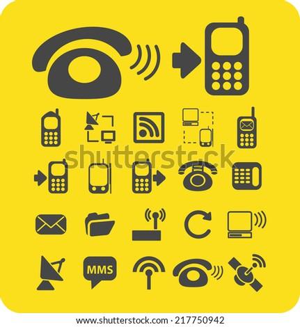 communications icons, signs, illustrations, vectors, symbols set - stock vector