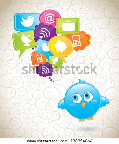 communications icons with bird over vintage background