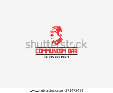 Communism style logotype for bar and night club - stock vector