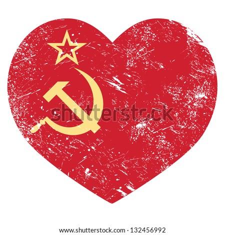 Communism USSR - Soviet union retro heart flag - stock vector