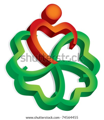 Community concept, abstract human sign - stock vector