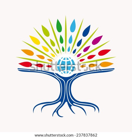 Community manager education world tree concept with colorful abstract leaves and earth icon illustration. EPS10 vector file organized in layers for easy editing. - stock vector