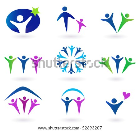 Community, network and social icons - blue, green and pink. Community, network and social icon set. Collection of 9 design elements inspired by people, family, love and togetherness. - stock vector