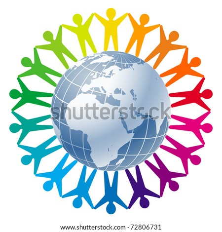 Community of people joined around the globe. Logo for Business, Technology, Corporation. - stock vector