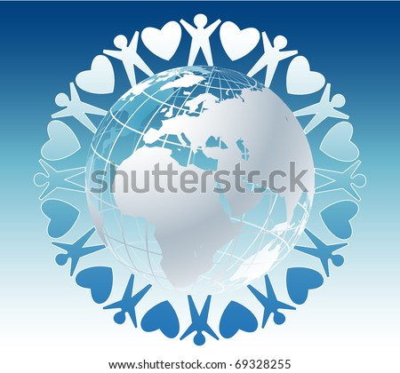 Community of people joined around the globe with hearts - stock vector