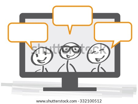 Community sends messages with computer - stock vector